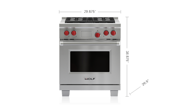 "The 30"" Dual Fuel Range with 4 Burners"