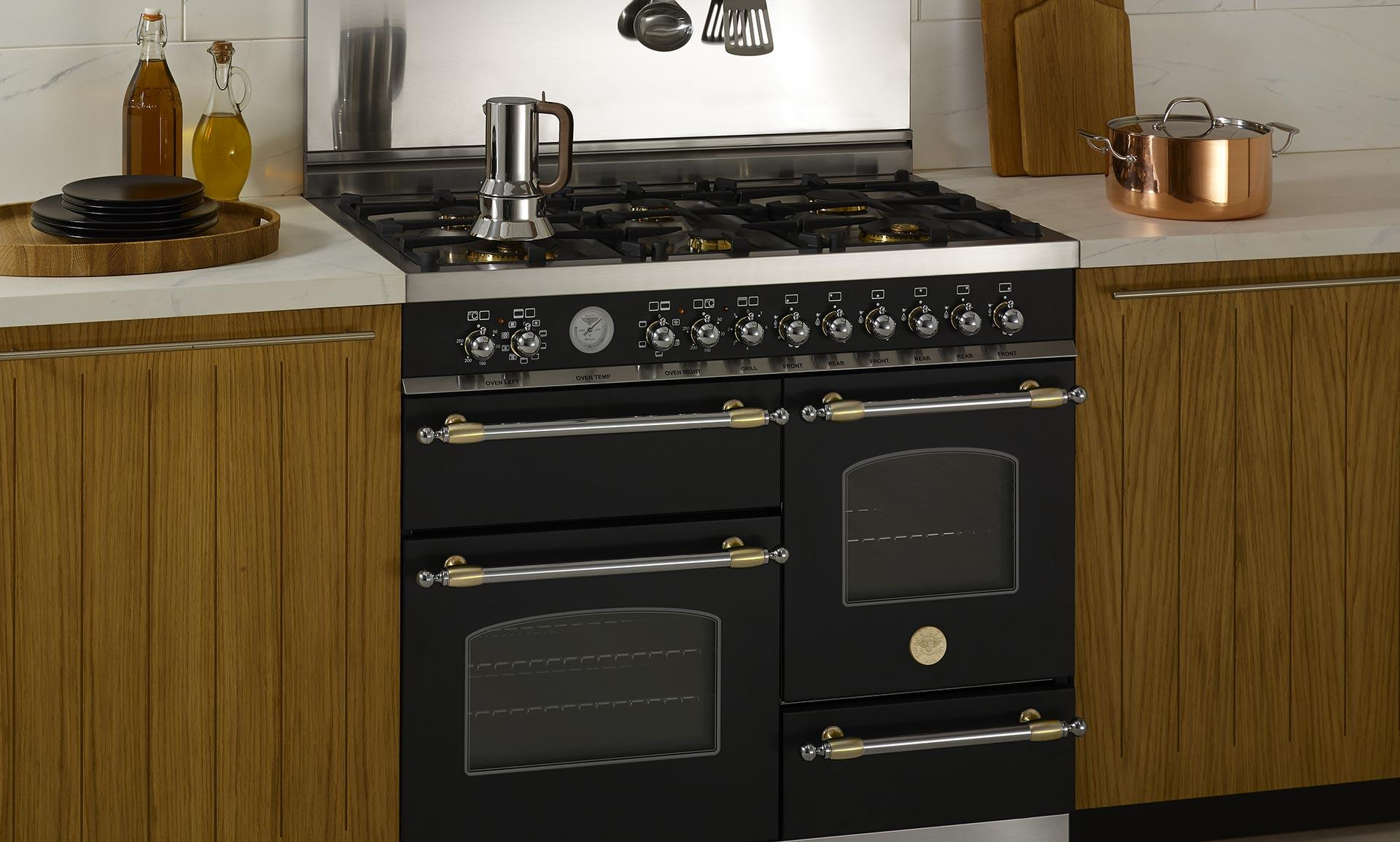 Bertazzoni Heritage in the center of kitchen