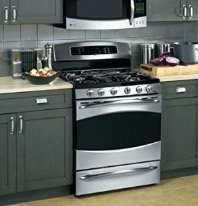 ge monogram 36 inch gas range at the kitchen