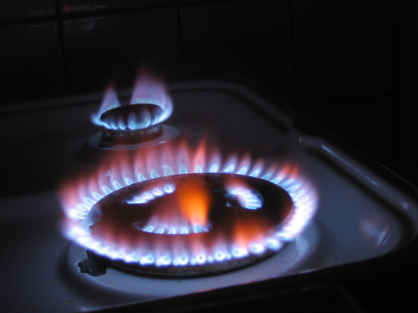 burning fire from a gas range